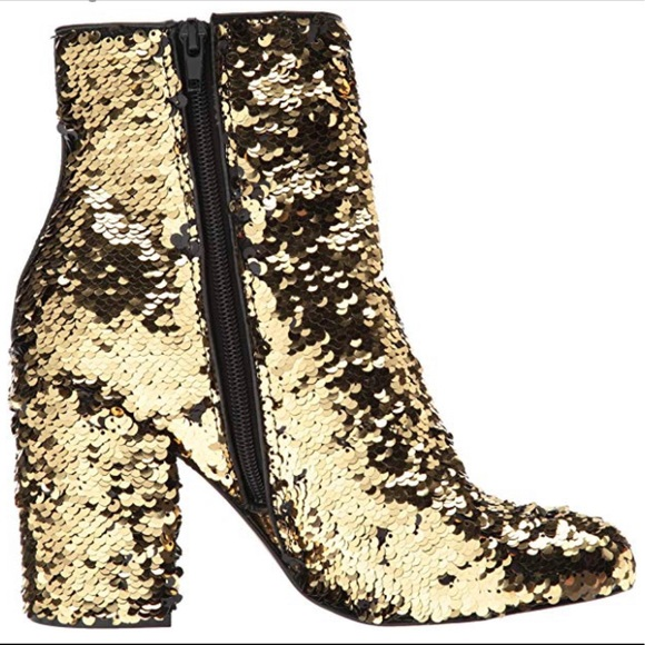59c0d46e72d Steve Madden Georgia-S Sequin Gold Ankle Booties NWT